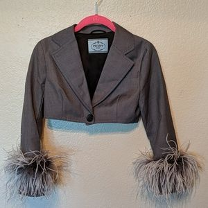 Prada cropped feather Fringe blazer